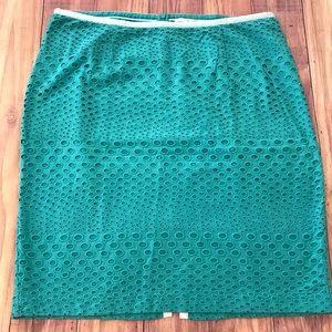 Boden Green Eyelet Pencil Skirt Size 14 Regular